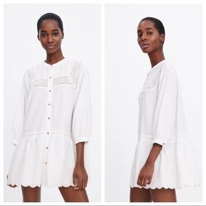 NWT. Zara Ivory Embroidered Lace Dress. Size XS.